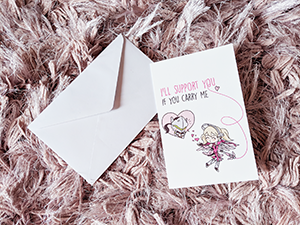Overwatch Pink Mercy and Genji greeting card romance