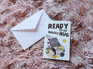 Ready to go Whole Hug! Roadhog and Junkrat greeting card
